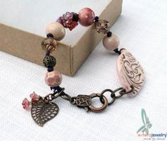 Pink bracelet with old rose ceramic beads from bo hulley beads, by esferajewelry, $45.00