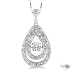 1/10 Ctw Pear Shape Diamond Emotion Pendant in Sterling Silver with Chain