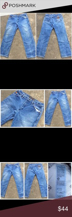 """WRANGLER FR """"Dirty"""" Distressed Denim Jeans 33 x 30 WRANGLER FR """"Dirty"""" Distressed Denim Jeans 33 x 30. Actual measurements are as follows – Waist line – 34 inches  Inseam – 30 inches   Please check pictures for distressed areas. These jeans are in excellent wearable condition. Wrangler Jeans Bootcut"""