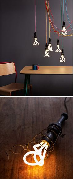 Plumen, the world's first designer energy saving light bulb. The colour cords look amazing with them!