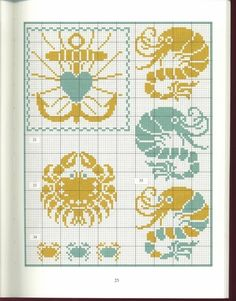 Sea theme design element pattern / chart for cross stitch, alpha pattern, crochet, knitting, knotting, beading, weaving, pixel art, and other crafting projects.