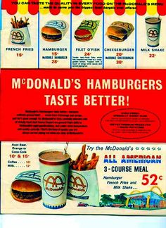 McDonald's fast food i remember Michigan Vintage Menu, Photo Vintage, Vintage Ads, Vintage Posters, Vintage Food, Retro Food, 1960s Food, Vintage Signs, Old Advertisements