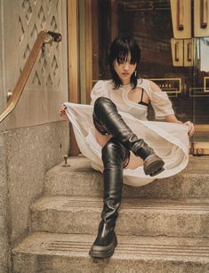 Cloudy cloque dress, technical voile bra with matching panties, stretch lambskin thigh-high country boots (Céline)