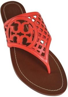 ea3e79b1f1191d Coral Thatched Perforated Thong Leather Logo Sandals. Coral SandalsTory  Burch ...