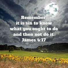 James Remember, it is sin to know what you ought to do and then not do it. Bible Verses Quotes, Bible Scriptures, Faith Quotes, Faith In God, Hope In God, Jesus Christus, Bible Knowledge, Favorite Bible Verses, God Loves Me