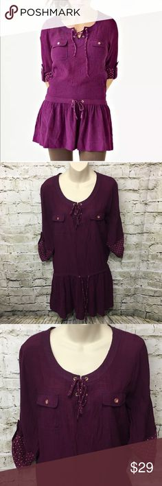 """Matilda Jane Blackberry Polka Dot Tunic Dress Matilda Jane Paint by Numbers Women's Blackberry Tunic Dress Size Medium in gently used condition with no flaws.    Measurements: laid flat Underarm to underarm: 19.5"""" Total length: 33"""" Matilda Jane Tops Tunics"""