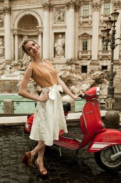 Red Vespa, in Italy, by the Trevi Fountain. Oh..... :O