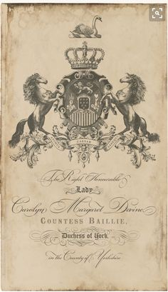 Custom Family Crest Engraving- we like the layout/posture of the horses. Coud be simplified and our initials incorpoated to create a logo/monogram. Vintage Labels, Vintage Postcards, Vintage Images, Etiquette Vintage, Vintage Typography, Monogram Logo, Gravure, Coat Of Arms, Decoupage