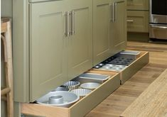 The kitchen can be quite a quagmire when it comes to storage solutions. Between food, pots and pans, dishes and appliances, there's a lot to keep organized. If you're struggling to keep everything in. Kitchen Room Design, Home Decor Kitchen, Kitchen Furniture, Kitchen Interior, New Kitchen, Home Kitchens, Space Kitchen, Kitchen Ideas, Diy Furniture
