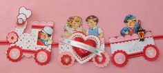 how cute to string vintage (or new) Valentines across a red ribbon for a great garland!