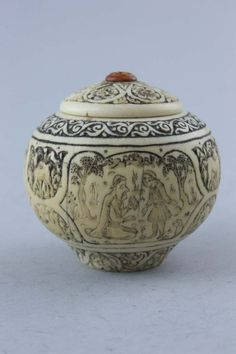 A Qajar ivory pot, late 19th century
