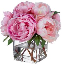 Fine Silk Floral Arrangement Faux Mixed Pink Peonies with Illusion water by La Fleur. $225.00, via Etsy.