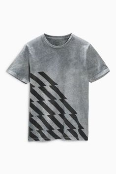 Buy Grey Acid Wash Zig Zag Graphic T-Shirt from the Next UK online shop