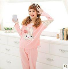 be14931f56 Women Autumn Pajamas sleep sets pink rabbit young girl sleepwear lounge  lady Pajamas Sets-inPajama