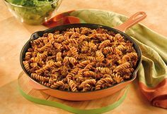 Campbell's Beefy Pasta Skillet Recipe - beef, tomato soup, cheese, noodles, onion, seasonings