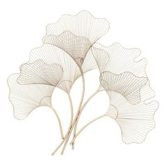 Modern reflections iron wire fan leaves wall décor, gold-finish, 5 fan-shape burst-style wire leaves with scalloped outline edges, curved stems. Metal Flower Wall Decor, Grey Wall Decor, Floral Wall, Metal Walls, Metal Wall Art, Medallion Wall Decor, Wall Fans, Arte Floral, Wall Sculptures