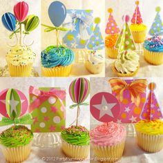 Free Matching Printable Birthday Party Cupcake Toppers and Gift Bags