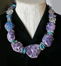 RESERVED! Rough Cut Amethyst Crystals, Raku Beads, Quartz Crystals, Wavy Silver…