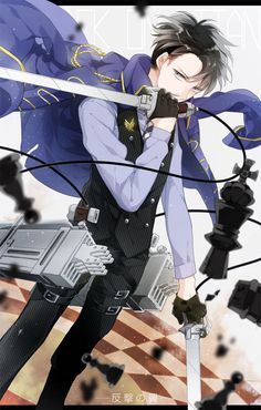 Shingeki no Kyojin, Levi, Black Handwear, Checkered Floor, Coat Over Shoulders