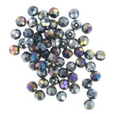 Hobbycraft Crystal Round Faceted Beads Black Effect | Hobbycraft