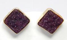 Natural Semi Precious Druzy Gemstone Stud Post Earring Gift Jewelry Handmade Design