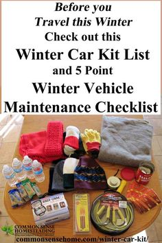 We& share a winter vehicle maintenance checklist and winter car kit checklist to help you prepare for cold weather travel. Kit Cars, Car Kits, Car Survival Kits, Emergency Kits, Emergency Preparedness, Survival Tips, Winter Car Emergency Kit, Survival Quotes, Survival Skills