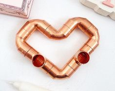 L'Amour Copper candle holder - Heart shaped  / Rose gold / Industrial decor /  Double candle holder - wedding gift / engagement gift!