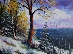Winter Landscape Impasto Original Oil Painting Seashore Impression Europe Artist #ImpressionismImpastopaletteknifearttexture
