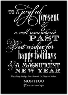 Business Holiday Cards Inspirational Inscription - Front : Black