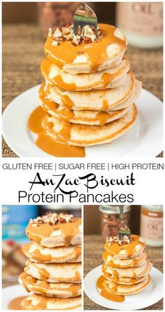 Anzac Biscuit (Protein) Pancakes- For under 250 CALORIES - I'll swap dairy-free milk, skip the butter and use a dairy-free protein powder for a milk-free breakfast!
