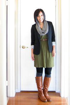 dress, belt, black blazer, striped scarf, tights, knee high boots