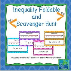 This activity has students practice two-step inequality problems involving all four operations. Students are asked to solve and graph an inequality and then search around the room for the answer to the problem. | by The Clever Clover