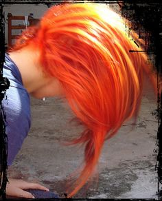 I love orange hair. I wish I could dye my hair this color without actually frying it. I suppose I'll just have to settle for a nice wig. Hair Dos, Blorange Hair, Red Orange Hair, Locks, Natural Hair Styles, Long Hair Styles, Alternative Hair, Dye My Hair, Scene Hair