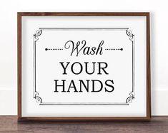 Wash Hands Sign, Bathroom Sign, Bathroom Art Printable, Kids Bathroom Art, Vintage Bathroom Decor, Bathroom Rules Sign, Sign for Wash Hands