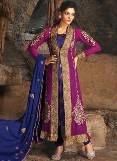 riveting-navy-blue-and-purple-salwar-kameez. @http://www.maalpani.com/latest-arrivals.html