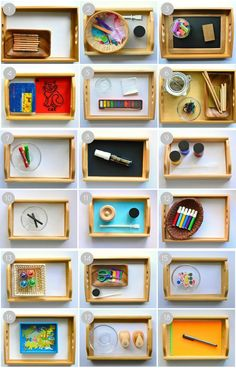 Montessori Art Activities for 2 Year Olds. Like the idea of setting up three different trays, opeing up the art cupboard and being able to choose anything or everything gets overwhelming and messy... Need to get more organised.