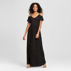 I love this simple, black, off-the-shoulder maxi dress from Target! Women's Cold Shoulder Maxi Dress - Vanity Room Black #affiliate