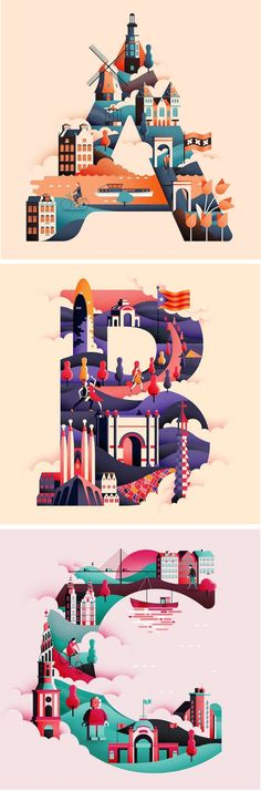 Illustration / This clever typographic collection uses each letter in the alphabet to visually represent a different city around the world. Design Poster, Design Art, Web Design, Logo Design, Type Design, Creative Design, Illustration Design Graphique, Digital Illustration, City Illustration