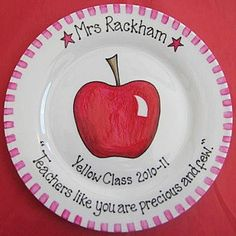 """Hand Painted Personalised Teacher's Gift Plate  """"Teachers like you are precious & few"""""""