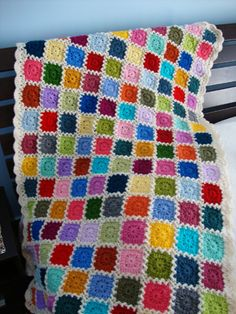 Lovely crochet blanket - see pix of pattern, joining & edging - very nice