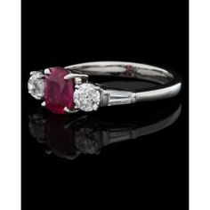 Ruby and Diamond Ring Antique Diamond Rings, Diamond Cuts, Halo, Engagement Rings, Jewels, Antiques, Enagement Rings, Antiquities, Wedding Rings