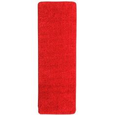 Berrnour Home Loft Collection Solid Soft Pile Shag Runner Rug with Nonslip Rubber Backing, Red