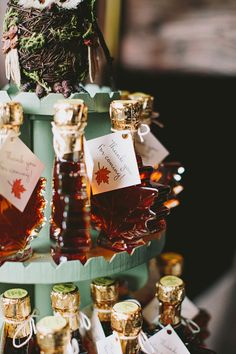 maple syrup wedding favors (perfect for fall weddings), photo by Lev Kuperman http://ruffledblog.com/hudson-valley-wedding #weddingideas #weddingfavors