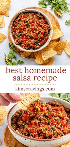 Learn how to make your own salsa at home! This easy homemade salsa recipe made with fresh tomatoes is the best salsa dip and absolutely irresistible! It's loaded with delicious, vibrant flavor and it comes together quick, in less than5 minutes. Use a blender or food processor to whip it up. Tips for canned salsa too! Make this Mexican salsa from scratch as spicy or chunky as you want. Canned Salsa Recipes, Best Salsa Recipe, Tomato Salsa Recipe, Fresh Tomato Recipes, Cooked Salsa Recipe, Mexican Food Recipes, Vegetarian Recipes, Cooking Recipes, Spicy Mexican Food