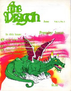 "The Dragon Magazine: Premier Issue June 1976 (Volume 1, Number 1) by Timothy Kask  TSR Hobbies Inc., 1976.  Magazine This is a Magazine item. Used.  Text is in English. Shipped in plastic sleeve.  Size -  H: 11"", W: 8.5"", D: .125"" This item is Used and is listed as being in Very Good condition. Cover has some light edge w...  more   Offered By  Firefly Bookstore"