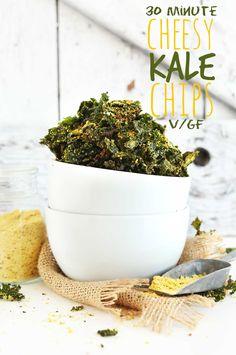 VEGAN CHEESY Kale Chips! So simple, 8 ingredients, 30 minutes, DELICIOUS! #vegan…