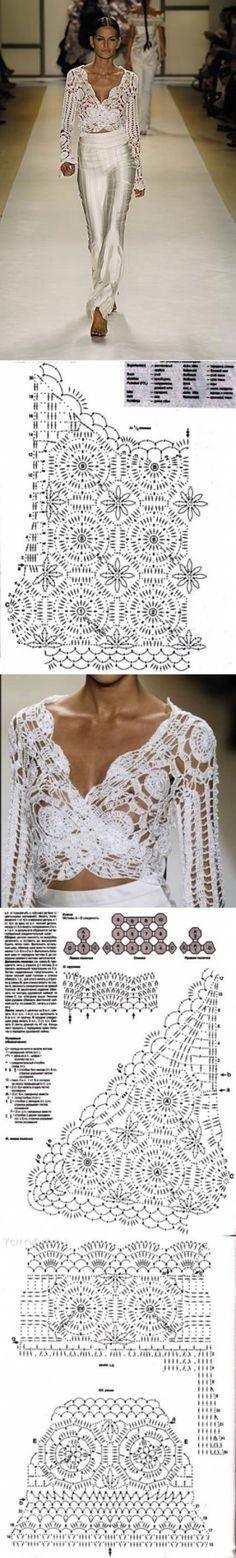 Вязаные топы, блузы, кофточки- летние модели | Ирина Vezunchik | Простые схемы. Экономим время на Постиле Crochet Diagram, Free Pattern, Knit Crochet, Knitting, Wedding Dresses, Model, 21st, Tops, Gowns