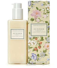 Crabtree and Evelyn's Summer Hill line.  It is by far my favorite scent.  Floral and fresh