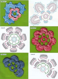 REGINA RECEITAS DE CROCHE E AFINS: esquemas flores e folhas.Achei muito lindo.Espero que gostem.