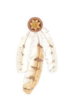 Three barn owls feathers with a woven rosette by TwoMoonzArt, $97.00